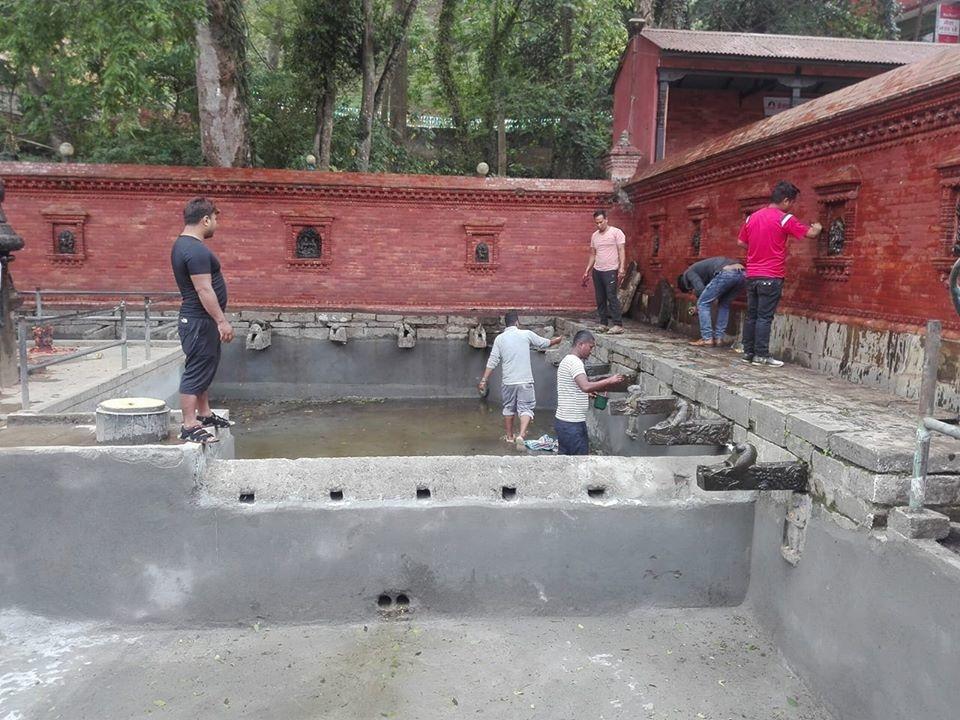 Chandragirinews puspakamal3 मछेगाउँ मन्दिर क्षेत्रमा सरसफाई मछेगाउँ    chandragiri